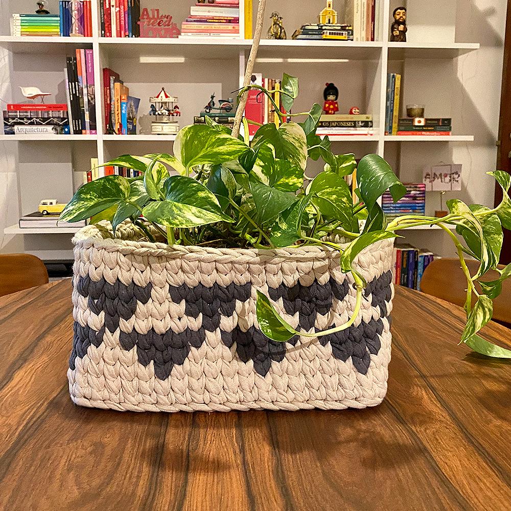 vaso de croche para planta