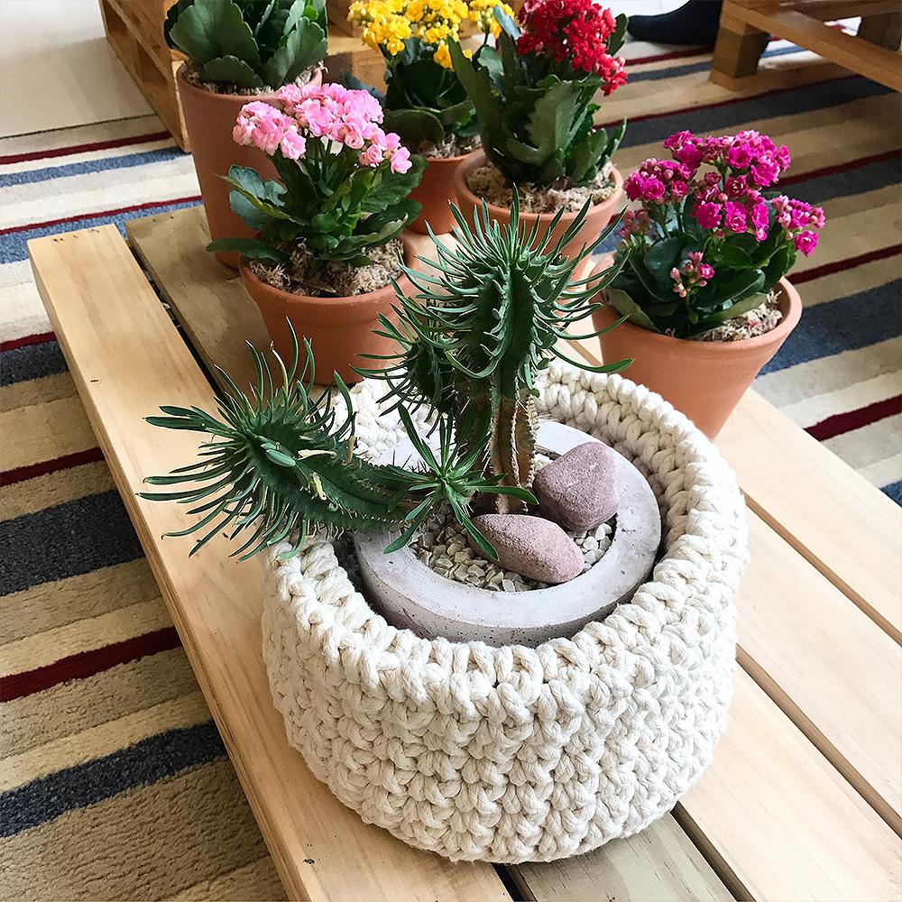 cesta de crochê para planta