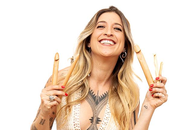 Anne Galante com agulhas