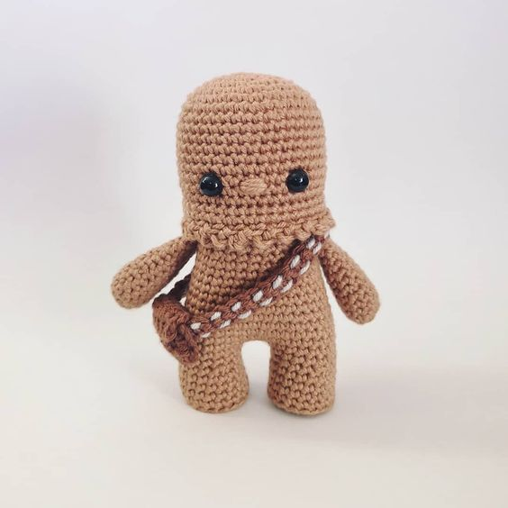 Personagem do Star Wars Chewbacca em amigurumi de croche
