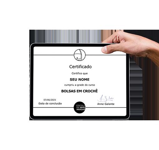 certificado curso bolsas em croche