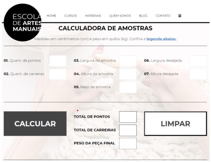 Calculadora de amostras Escola de Artes Manuais