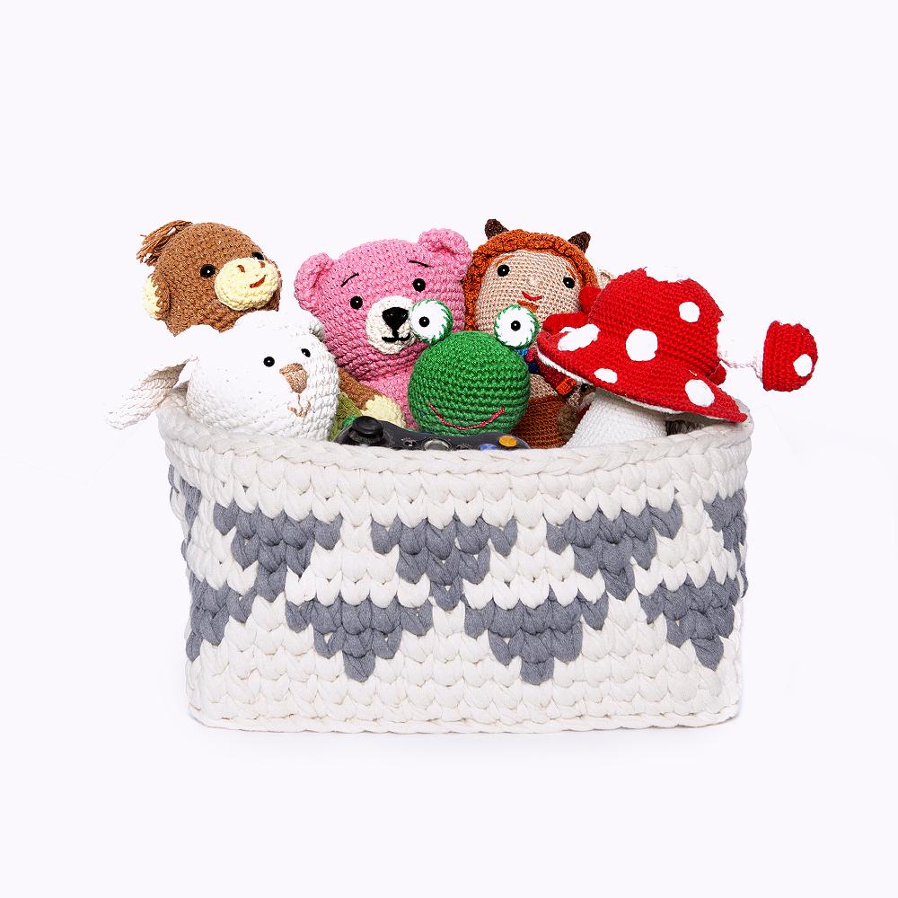 cesta feita em croche para brinquedos anne galante