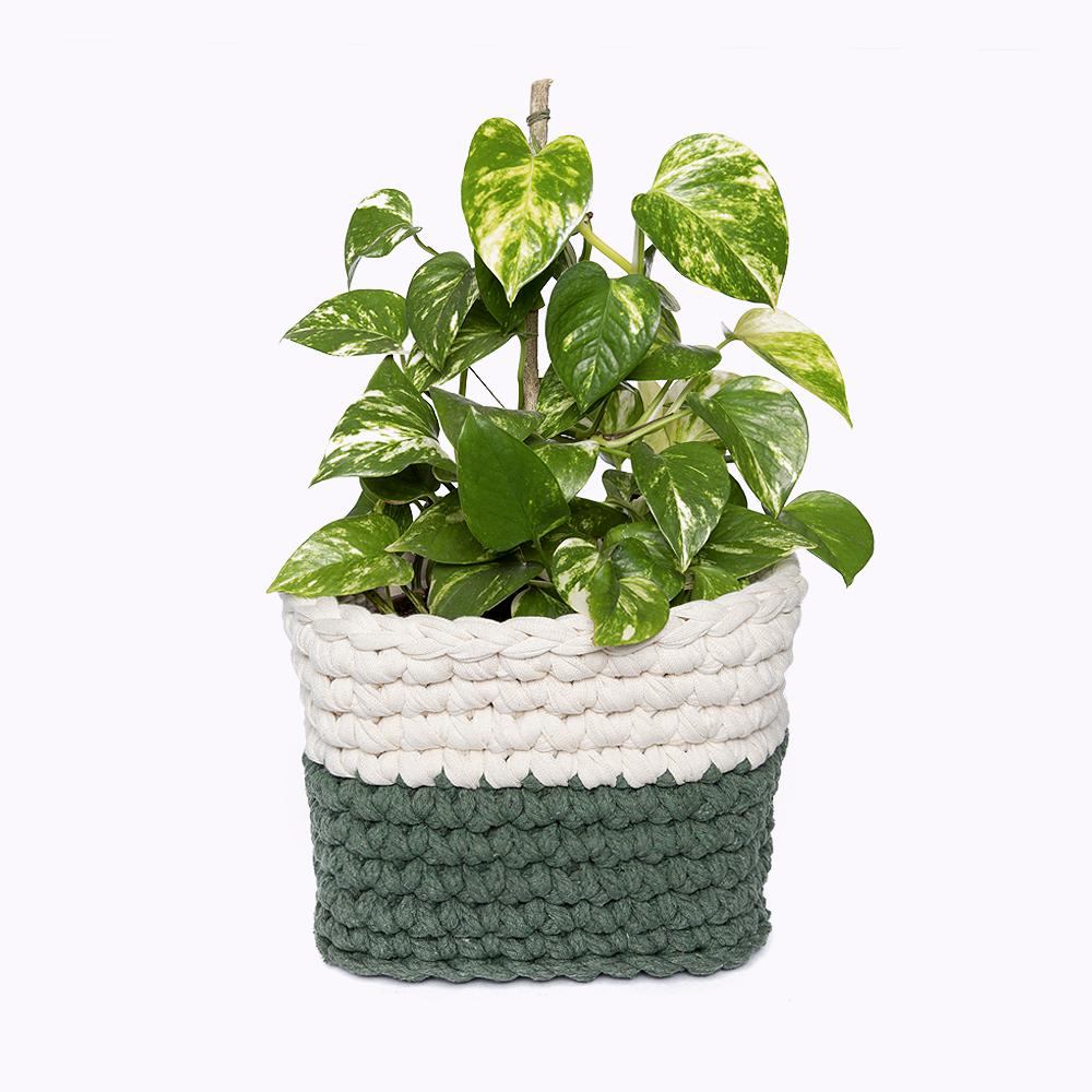 cesta para planta em feita em croche anne galante escola de artes manuais