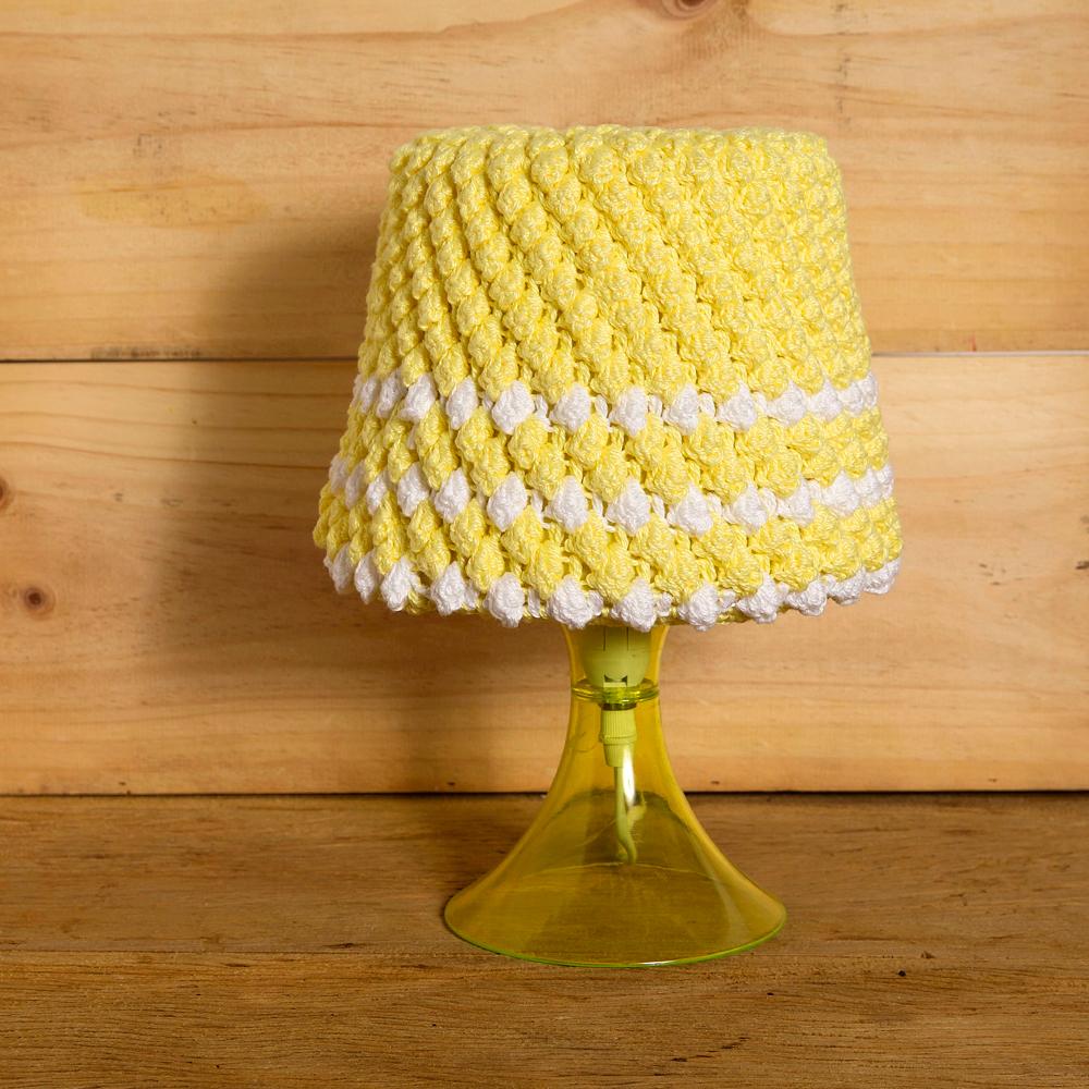 design em croche abaju amarelo anne galante escola de artes manuais