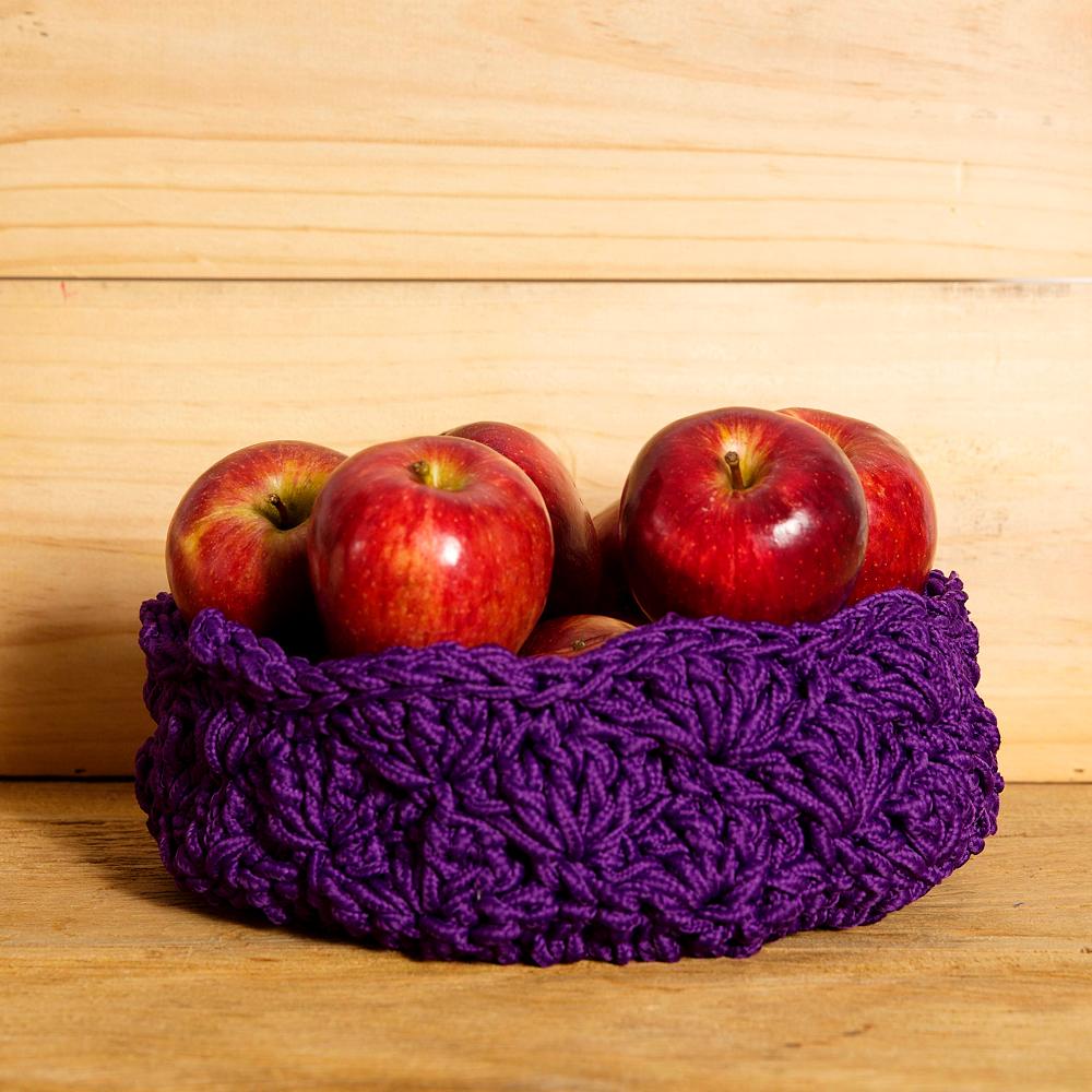 design em croche cesta frutas