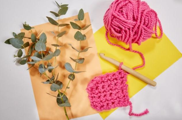 material rosa croche